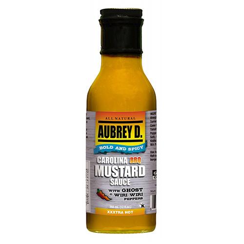 Aubrey D. Carolina BBQ Mustard Sauce with Ghost and Wiri Wiri Peppers 375ml