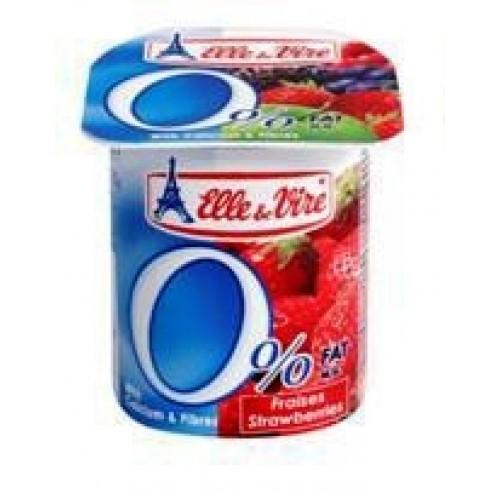 Elle & Vire Milk dessert  Light 0% with strawberries
