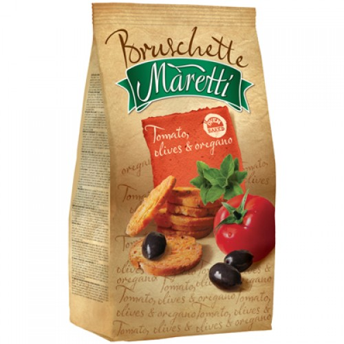 BRUSCHETTE MARETTI Tomato, olives, oregano