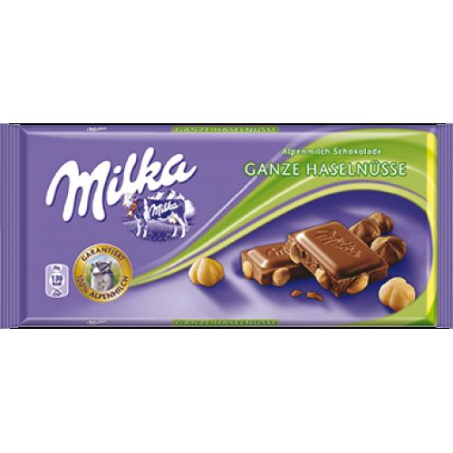 Milka Whole Hazelnuts Chocolate 100g